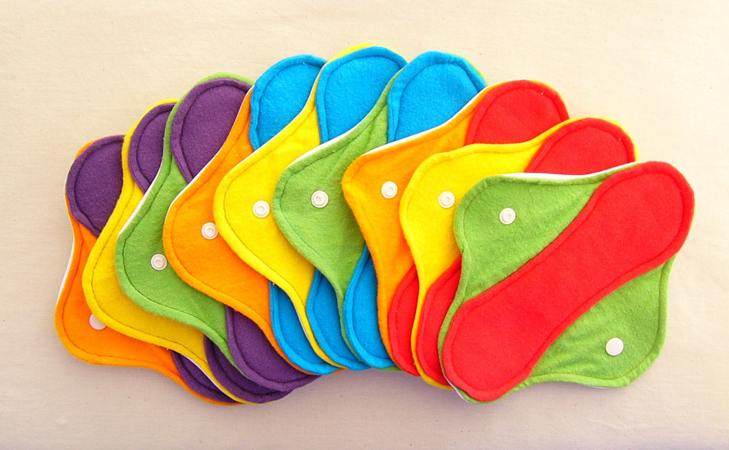 Rainbow Set of 9 Light, Medium and Heavy Femeko Cloth Menstrual Pads - 8