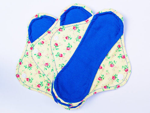 Yellow Floral Print Set of 3 Medium Femeko Cloth Menstrual Pads - 8