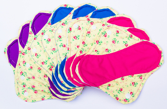 Yellow Floral Print Set of 9 Light, Medium and Heavy Femeko Cloth Menstrual Pads - 8
