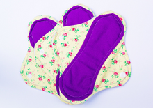"Yellow Floral Print Set of 9 Light, Medium and Heavy Femeko Cloth Menstrual Pads - 8"", 9 or 10"" Pads"