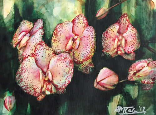 Small painting orchids by Anne Marie Talon