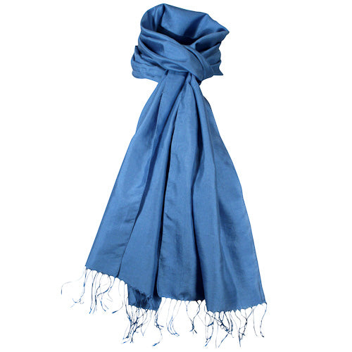 Blue silk scarf tied in a simple knot