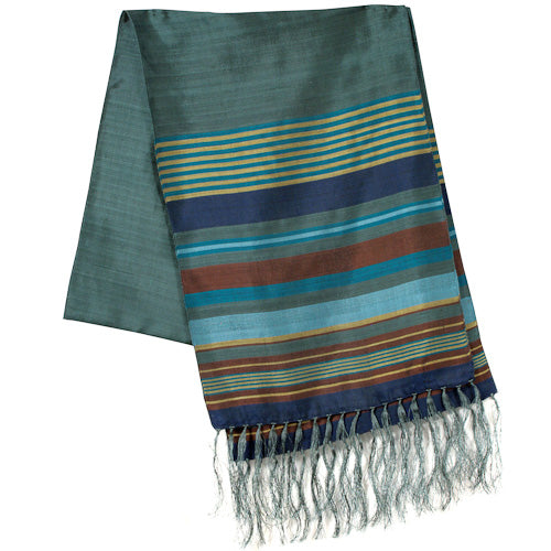 Bronze Large Striped Silk Scarves folded once