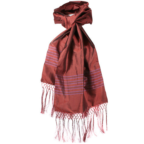Burgundy Striped Silk Scarves in a knot