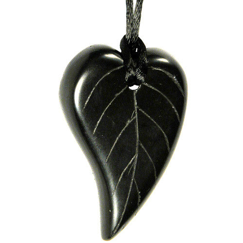 Handmade, etched leaf-shaped piece of coal on a string