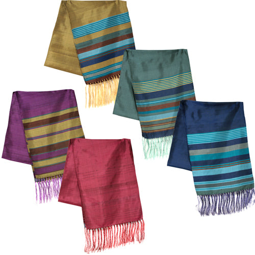 Blue, Bronze, Gold, Pink, and Purple Large Striped Silk Scarves folded once