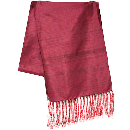 Pink Large Striped Silk Scarves folded once