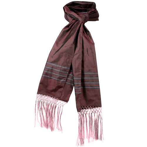 Plum Striped Silk Scarves in a knot