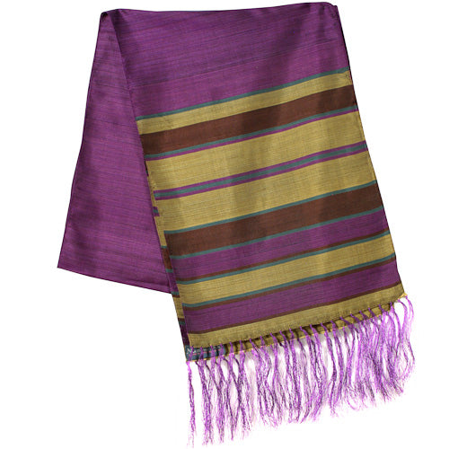 Purple Large Striped Silk Scarves folded once