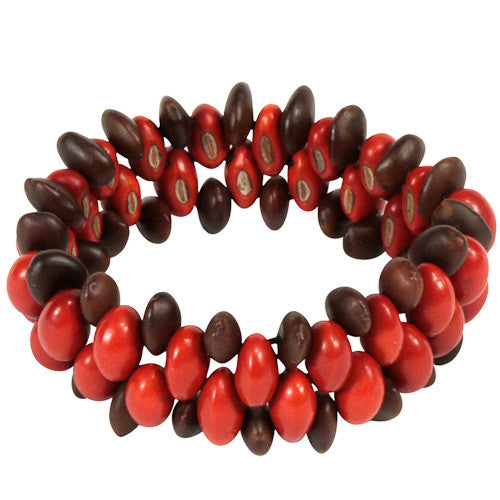 Hand-strung narrow red/brown seed bracelet