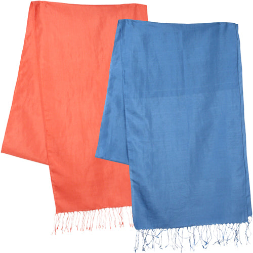 Coral and blue Afghan silk scarves folded once