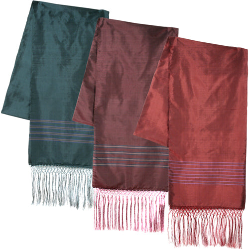 Burgundy, Plum, and Turquoise Striped Silk Scarves folded once