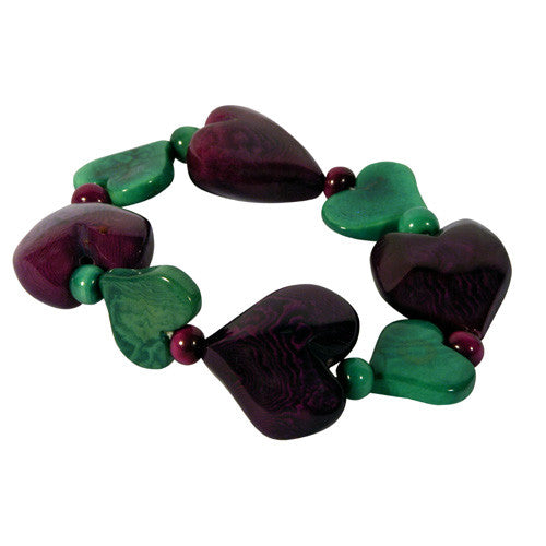 Purple Heart Tagua Disc Bracelet