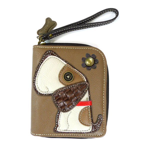 Zip Around Toffy Dog Faux Leather Wallet