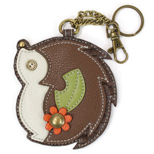 Attachable Brown Hedgehog Key Chain and Coin Purse