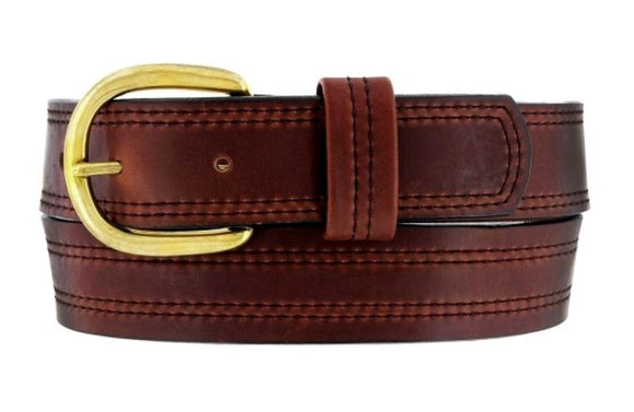 X Stitching Oiltan Leather Belt