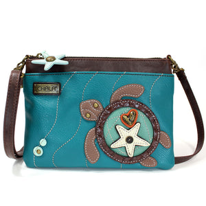 Convertible Turquoise Sea Turtle Crossbody with Bronze Heart Adornment and Starfish Zipper Pull Charm