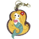Attachable Teal and Yellow Mermaid Key Fob and Coin Purse