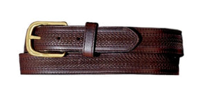 Oil Tan Embossed w/ Stitching Leather Belt