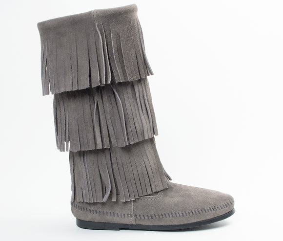 3 Layer Fringe Boot - Grey