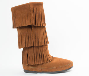 3 Layer Fringe Boot - Brown