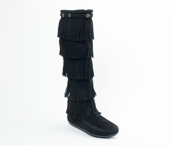 5 Layer Fringe Boot - Black