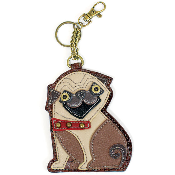 Attachable Tan and Brown Pug Key Fob and Coin Purse Decorated with Red Studded Collar