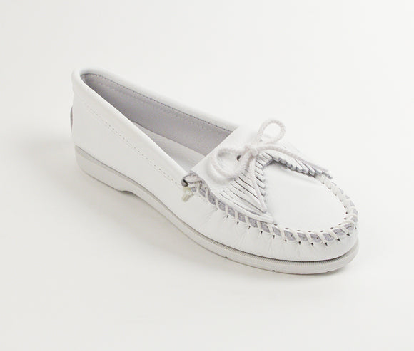 Kilty Unbeaded Moccasin - White