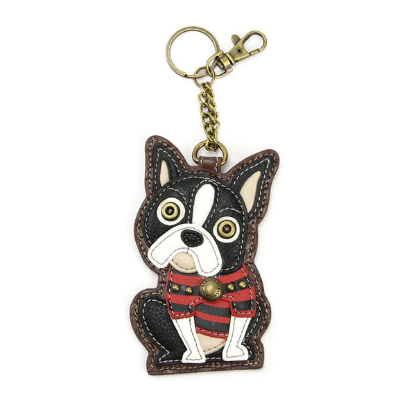 Attachable Boston Terrier Coin Purse and Key Fob