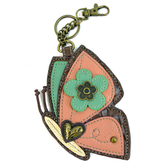 Attachable Pink and Teal Butterfly Coin Purse and Key Fob