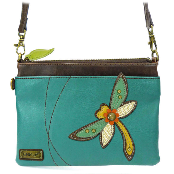 Convertible Colorful Dragonfly Crossbody with Leaf Zipper Pull and Inside Patterned Lining
