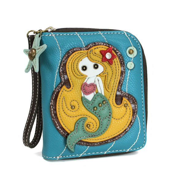 Zip Around Mermaid Wallet with Starfish Zipper Charm
