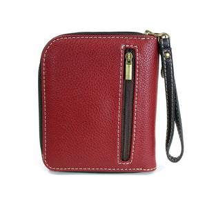 Zip Around Burgundy Raccoon Wallet with Acorn Zipper Charm