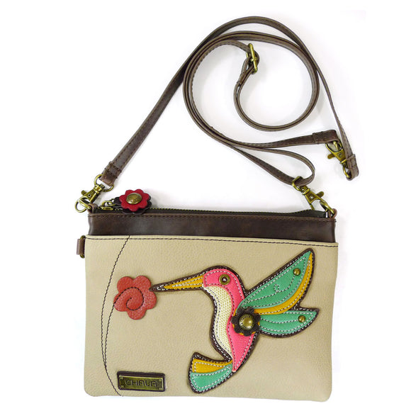 Colorful Convertible Hummingbird Crossbody with Flower Zipper Pull Charm