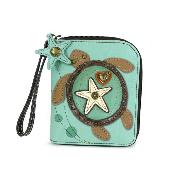 Aqua Zip Around Sea Turtle Wallet with Starfish Zipper Charm