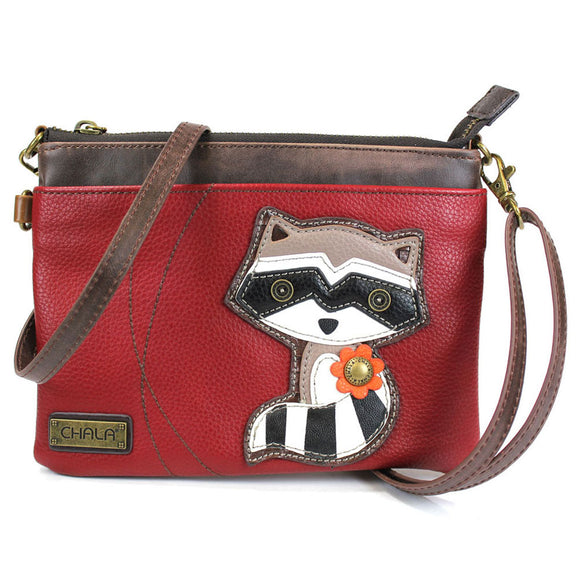 Convertible Burgundy Raccoon Crossbody with Acorn Zipper Pull Charm
