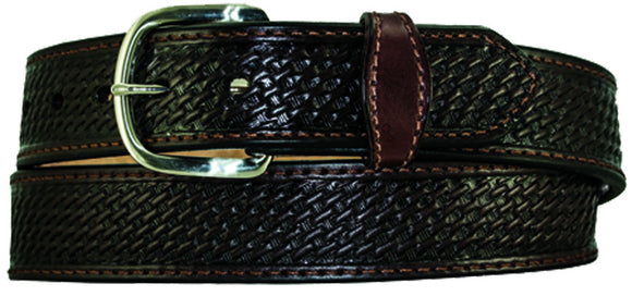 1.5'' Basketweave Stamped Skirting Leather Western Belt