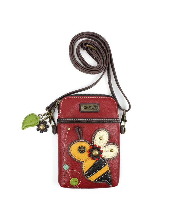 Bee Cellphone Crossbody - Burgundy