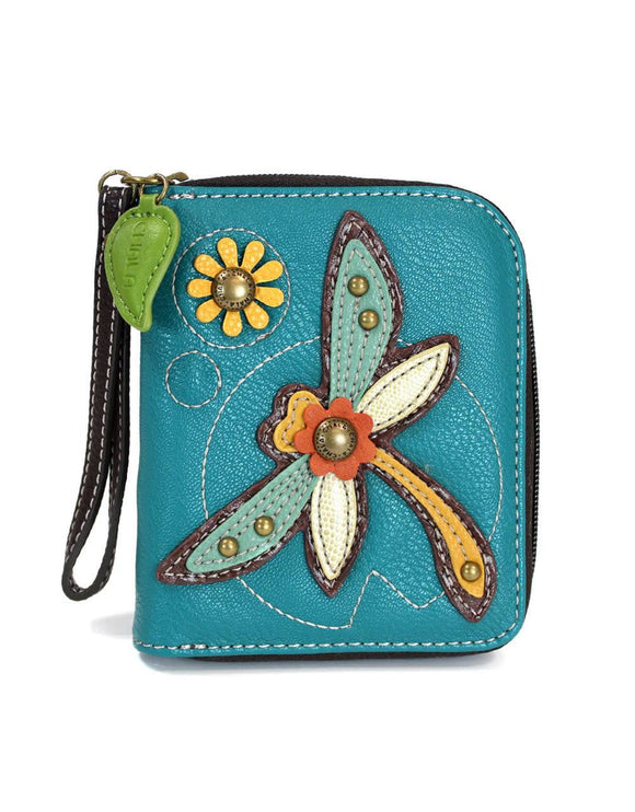 Dragonfly Zip Around Wallet - Turquoise