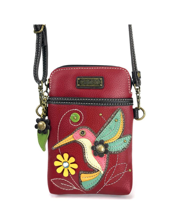 Hummingbird Cellphone Crossbody - Burgundy