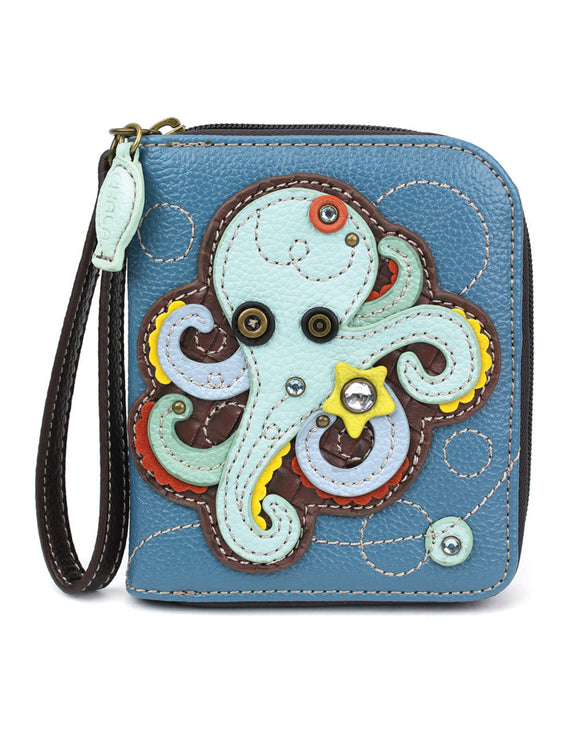 Octopus Zip Around Wallet - Blue