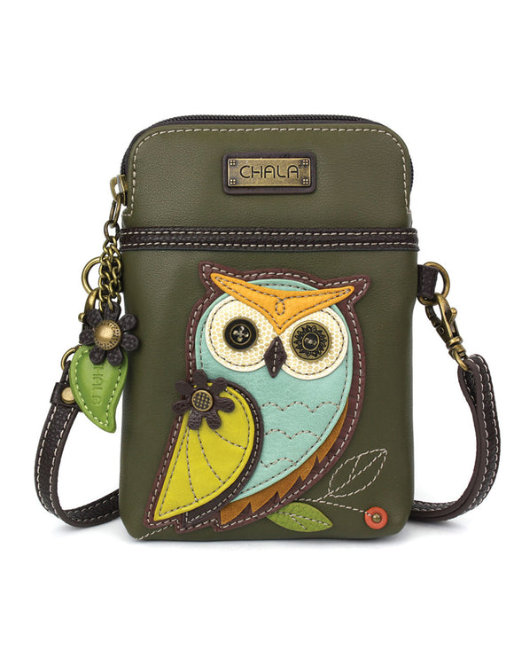 Owl Cellphone Crossbody - Olive