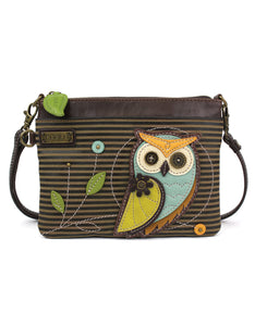 Owl Mini Crossbody  - Olive Stripe