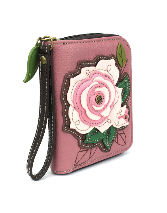 Rose Zip Around Wallet - Pink