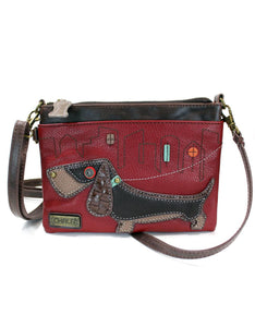 Wiener Dog Mini Crossbody - Burgundy