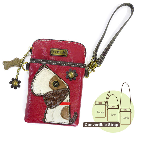 Toffey Dog Burgundy Cellphone Crossbody -Red