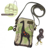 Safari Canvas Cellphone Crossbody - Giraffe