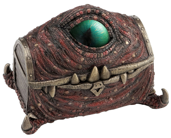 Steampunk Dragon Eye Trinket Box Hand Painted with Scales and Blue Green Center Eye