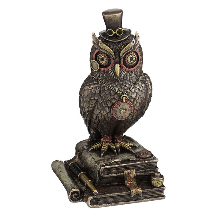 steampunk Owl Perching on Books while Wearing a Top Hat