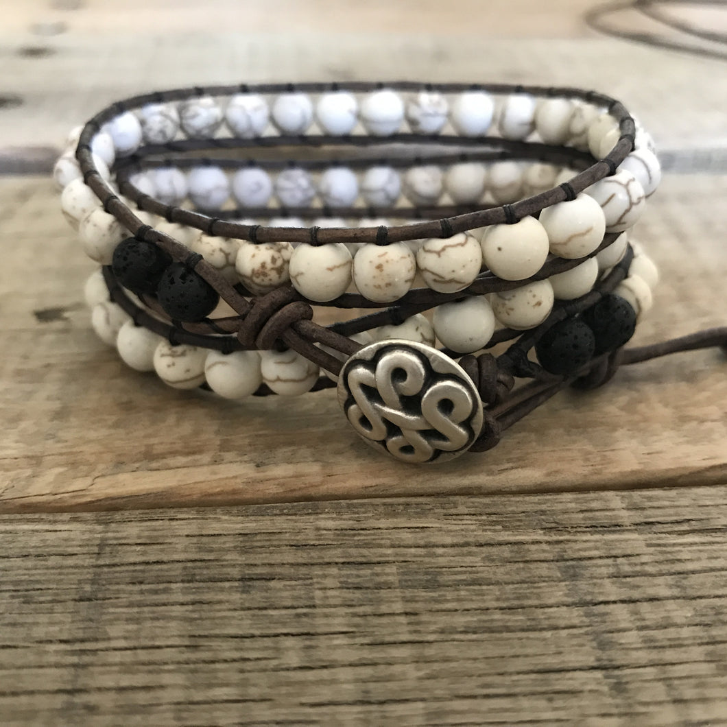 Essential Oil Diffuser Bracelet - Aromatherapy Diffuser - Lava Rock Essential Oil Jewelry White Magnesite Leather Wrap Bracelet